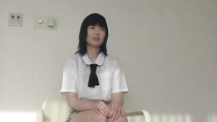Teeny Japanese school chick fuck on the chair and on the bed